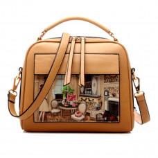 Show Story Women's Girls Black/Beige Painting Design Fashion Outdoor Crossbody Shoulder Tote Bag,FB90005