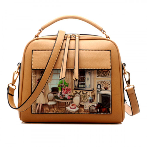 Show Story Women's Girls Black/Beige Painting Design Fashion Outdoor Crossbody Shoulder Tote Bag,FB90005