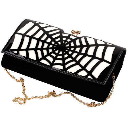 Show Story Women's Girls Punk Spider Web Design Fashion Outdoor Evening Clutch Handbag Bag,FB90020