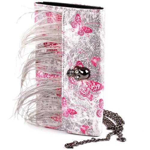 Show Story Women's Girls Punk Skull Feather Gems Design Fashion Outdoor Evening Clutch Handbag Bag,FB90022