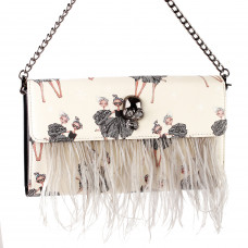 Show Story Women's Girls Punk Skull Feather Gems Design Fashion Outdoor Evening Clutch Handbag Bag,FB90023