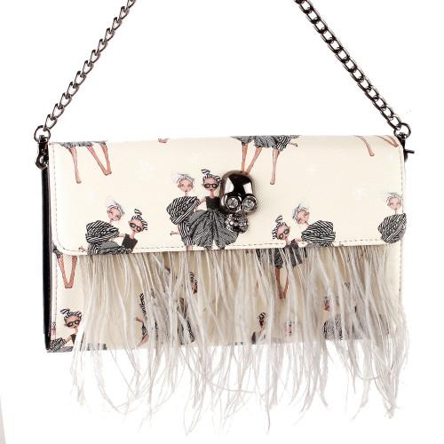 Show Story Women's Girls Punk Skull Feather Gems Design Fashion Outdoor Evening Clutch Handbag Bag,FB90023