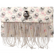 Show Story Women's Girls Punk Skull Feather Gems Design Fashion Outdoor Evening Clutch Handbag Bag,FB90024
