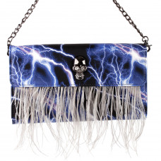Show Story Women's Girls Punk Skull Feather Gems Design Fashion Outdoor Evening Clutch Handbag Bag,FB90025