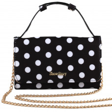 Show Story Dazzling Women's Girls Bow Two Tone Flap Clutch Bag Evening Bag With Detachable Chain,FB90031BK00