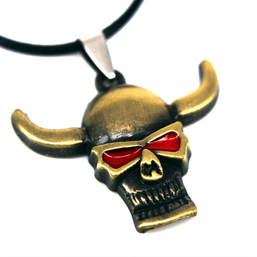 SCOO Fashion Skull Glittery Artificial Gem Cross Amulet Pendant Necklace FS90006JE00