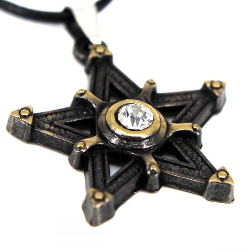SCOO Fashion Hand of Buddha Buddhist Symbol Natural Stone Amulet Pendant Necklace FS90018JE00