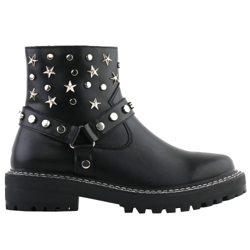 SHOW STORY Retro Black Star Studs Strap Combat Ankle Boots