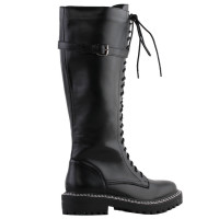 SHOW STORY Retro Black Lace-Up Buckle Strap Knee High Combat Boots
