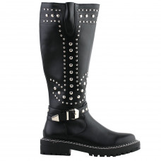 SHOW STORY Retro Black Studs Buckle Strap Knee High Combat Boots