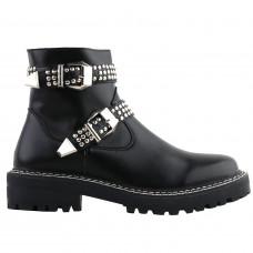 SHOW STORY Retro Black Buckle Studs Strap Combat Ankle Boots