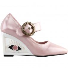 SHOW STORY Glittery Pink Buckle Mary-Jane Square-Toe Wedge Eye Shape Heels Pumps