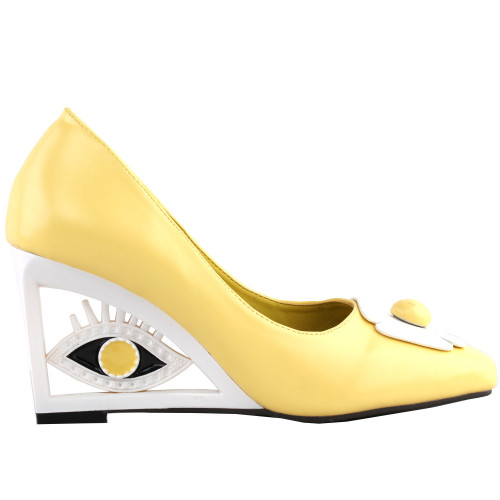 SHOW STORY Vintage Yellow Flower Square-Toe Wedge Eye Shape High Heels Pumps