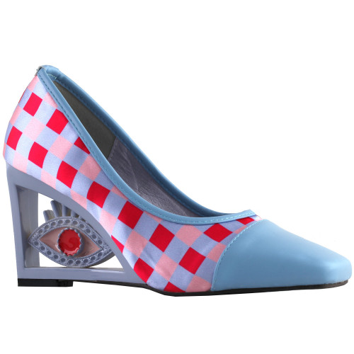 SHOW STORY Vintage Plaid Pattern Square-Toe Wedge Eye Shape High Heels Pumps