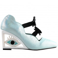 SHOW STORY Vintage Blue Bows Square-Toe Wedge Eye Shape High Heels Pumps