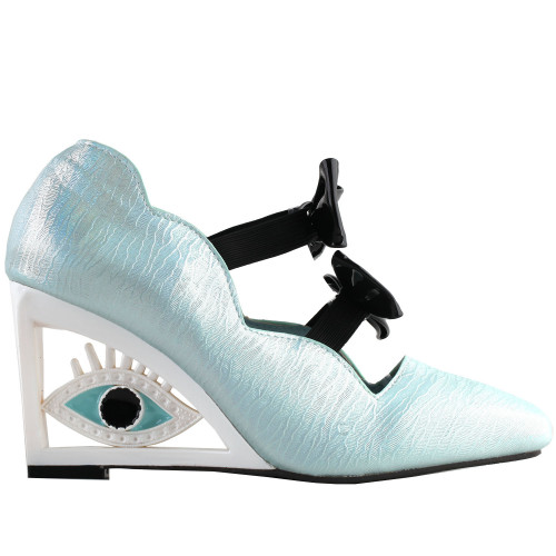 SHOW STORY Vintage Blue Bows Square-Toe Wedge Eye Shape High Heels Pumps