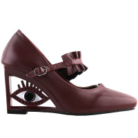 SHOW STORY Vintage Ruffle Mary-Jane Square-Toe Wedge Eye Shape High Heels Pumps