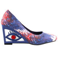 SHOW STORY Vintage Feather Pattern Square-Toe Wedge Eye Shape High Heels Pumps