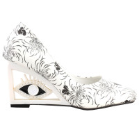 SHOW STORY Vintage Two Tone Floral Pattern Square-Toe Wedge Eye Shape High Heels Pumps