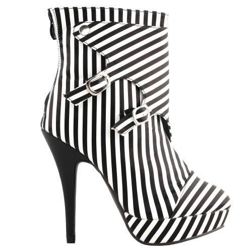 SHOW STORY Fashion Black White Two Tone Stripe Print Gladiator Platform Ankle Bootie