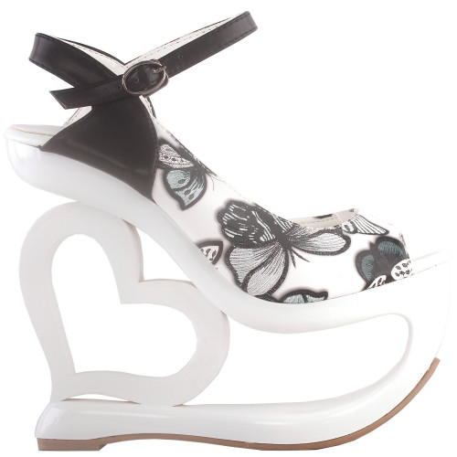 SHOW STORY Elegant Butterfly Print Bow Ankle Strap Heart Heel Wedge Bridesmaid Wedding Sandals