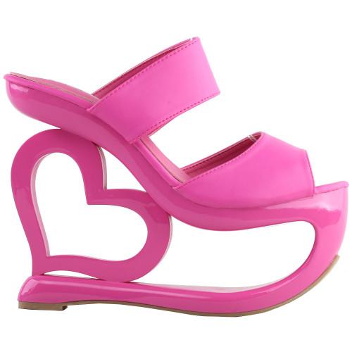 SHOW STORY Retro Pink Open Toe Heart Heel Wedge Wedding Evening Slip-ons Sandals