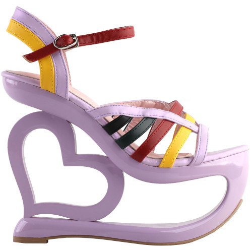 SHOW STORY Retro Multicoloured Strappy Heart Heel Wedge Evening Platform Sandals