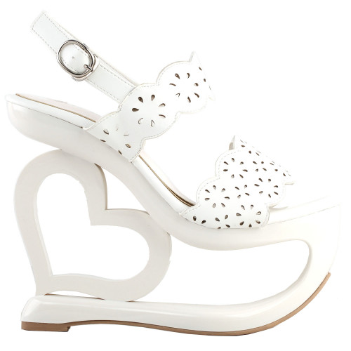 SHOW STORY Retro White Floral Cut-Out Heart Heel Wedge Evening Platform Sandals