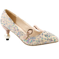 SHOW STORY Glam Arrow Print T-Strap Buckle Pointed Toe Exquisite Pearl Heel Dress Pump