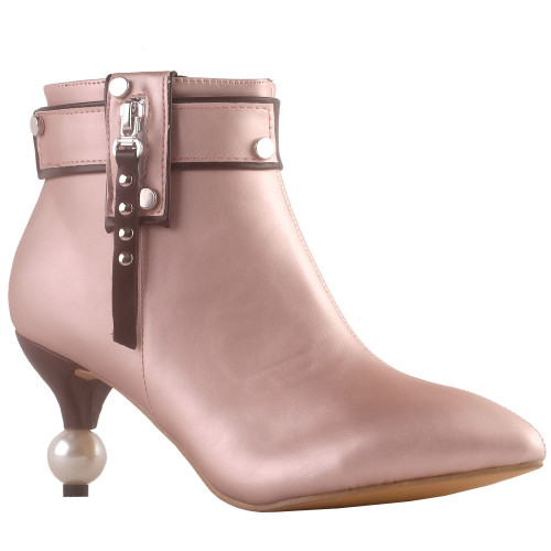 SHOW STORY Retro Two Tone Stud Zip Pointed Toe Exquisite Pearl Heel Dress Ankle Bootie,LF60425