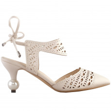 SHOW STORY Retro Cut-Out D-Orsay Bow Pointed Toe Exquisite Pearl Heel Dress Pump
