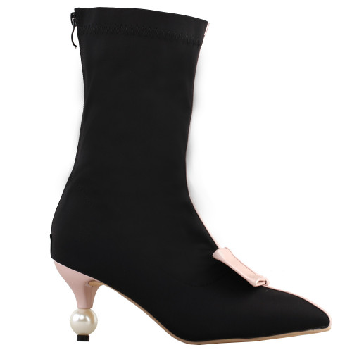 SHOW STORY Retro Two Tone Bow Pointed Toe Exquisite Pearl Heel Dress Ankle Bootie