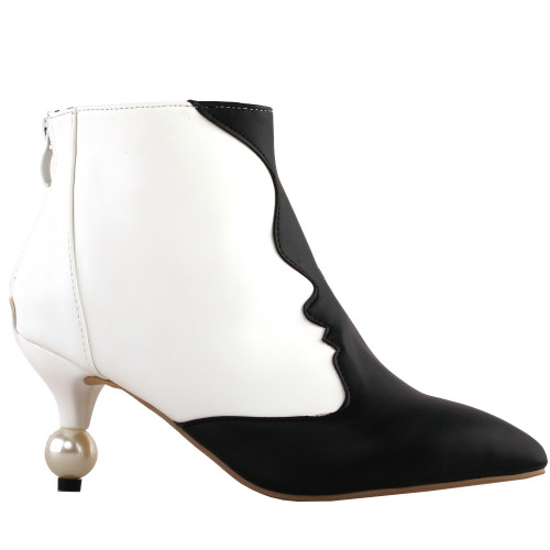 SHOW STORY Retro Two Tone Woman's Face Pointed Toe Exquisite Pearl Heel Dress Ankle Bootie