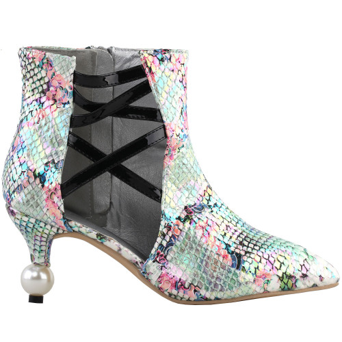 SHOW STORY Retro Snakeskin Print Strappy Cut-Out Pointed Toe Exquisite Pearl Heel Dress Ankle Bootie