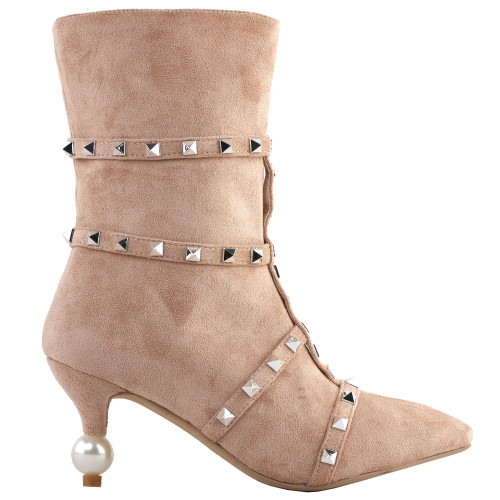 SHOW STORY Retro Beige Stud Strappy Pointed Toe Exquisite Pearl Heel Dress High Heels Ankle Bootie