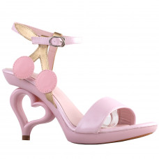 Baby Pink Cherry Strappy Ankle Strap Bride Wedding Dancing Heart Heels Sandals