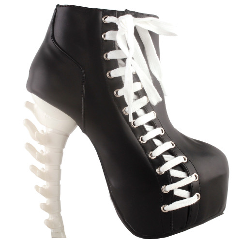 SHOW STORY Punk Two Tone Lace up Zip High-top Bone Platform Ankle Boots,LF80666