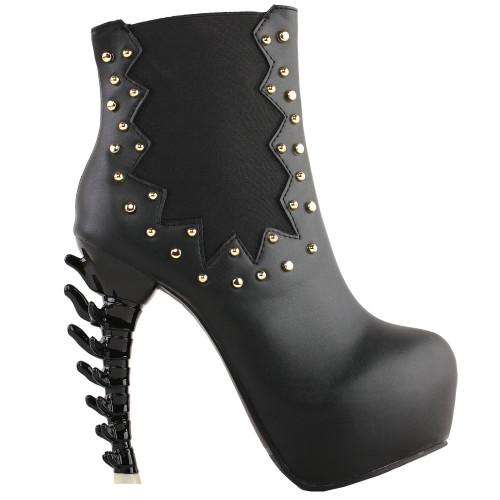 SHOW STORY Punk Black Studs High-top Bone Platform Ankle Boots
