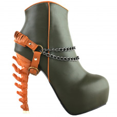 SHOW STORY Vintage Rockabilly Two Tone Buckle Chain High-top Bone Platform Ankle Boots
