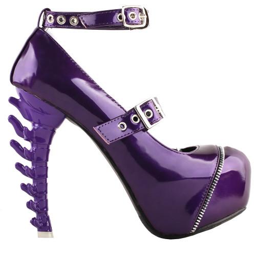 SHOW STORY Women Sexy Zipper Buckle Ankle Strap Mary Jane Bone Heels Platform Pumps