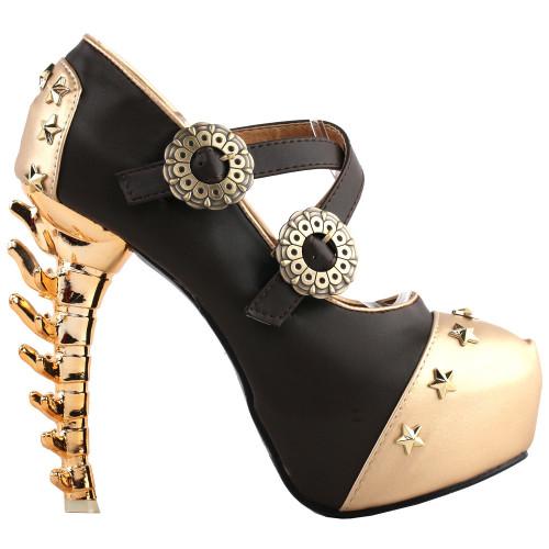 SHOW STORY Women Sexy Star Stud Buckle Strappy Bone High Heels Platform Pumps