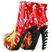 SHOW STORY Punk Rockabilly Red Flame Animal-Print High-top Bone High Heel Platform Ankle Boots