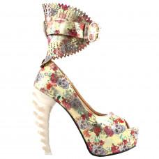 SHOW STORY Multicoloured Floral Skull Pattern Gladiator Buckle Platform Bone Heels Pumps