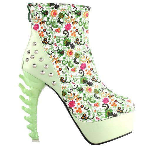 SHOW STORY Vintage Rockabilly Green Flower Print Stud High-top Bone Platform Ankle Boots