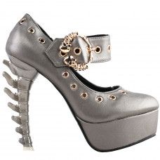 SHOW STORY Punk Grey Skull Buckle Mary-Jane Eyelet Gladiator Platform Bone Heels Pumps