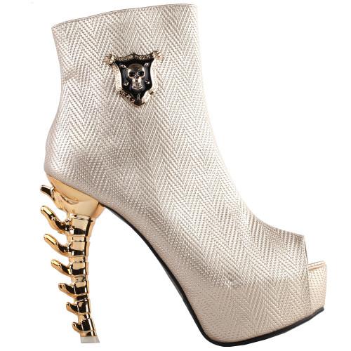 SHOW STORY Punk Gold Skull Peep-Toe Gladiator Zip Platform Gilded Bone Heels Ankle Bootie