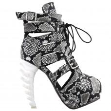 Punk Snake Skin Print Lace-Up Gladiator Hidden Platform Bone Heels Ankle Bootie