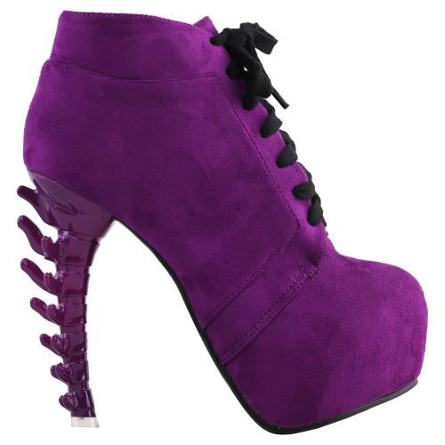 LF80702 SHOW STORY Punk Purple Lace-Up Gladiator Hidden Platform Bone Heels Ankle Bootie