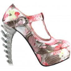 SHOW STORY Retro T-Bar Floral Print Buckle Mary-Jane Gladiator Platform Bone Heels Pumps