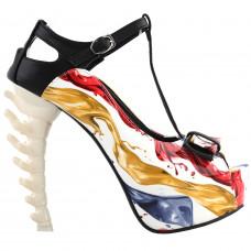 SHOW STORY Retro T-Bar Liquid Print Buckle Bow Mary-Jane Gladiator Platform Bone Heels Pumps